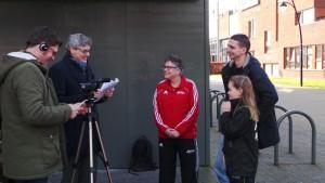 Anouk, Koen en Juliet in gesprek met de burgemeester